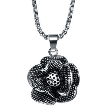Stainless Steel Black Rose Pendant Necklace