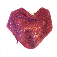 Red Paisley Scarf, Sparkly red bandana, Gift for teacher, Holiday Gift for Best friend, Terracotta scarf, Sparkly Gold Head scarf under 20