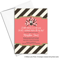 Thanksgiving baby shower invitations for girl | coral brown cream stripes | fall baby shower invitations turkey | printable - WLP00796