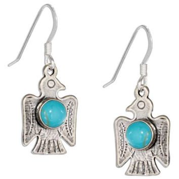 Thunderbird Earrings with Turquoise Stone - Sterling Silver