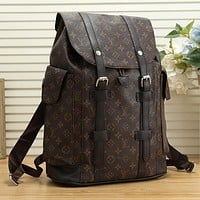LV Louis Vuitton Women Fashion Leather Backpack Travel Bookbag