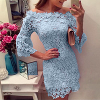 Casual Neck Long Sleeved Pink Lace Dress