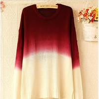 2014 Sweater for women lady Fashion round neck long-sleeved knitwear sweater gradient