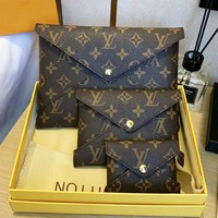 Louis Vuitton LV Fashion Women Leather Tote Handbag Purse Wallet Envelope Bag Set Three-Piece