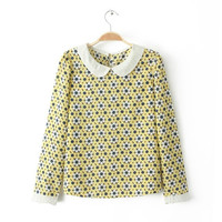 Yellow Floral Print Peter Pan Collar Long-Sleeve Shirt
