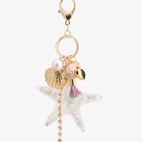 Starfish Gold Tassel Charms Key Chain Ring