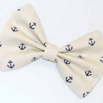 Hair Bow Vintage Inspired 1920s Creme with Dark Blue Anchors Clip Rockabilly Pin up Teen Woman