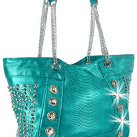 * Rhinestone and Chain Accent Snakeskin Embossed Handbag in Turquoise
