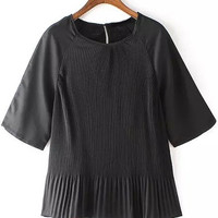 Black Ruched Short Sleeve Blouse