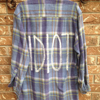 """Michael Clifford inspired """"IDIOT"""" painted flannel shirt. 5SOS"""
