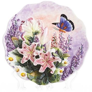 Ceramic Emboss Butterfly Decorative Wall Hanging Plate