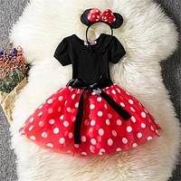 Polka Dots Little Princess Girls Baby Dresses Toddler Girls Party Tutu Ballet Dress Birthday Outfits Clothes For Kids