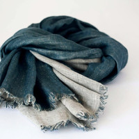 Blue linen scarf for men, perfect gift hor him, organic scarf, double sided eco friendly scarf for men