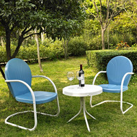 3-Piece Patio Furniture Set with Table & 2 Chairs in Sky Blue