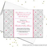 Girls baby shower invite for couples baby shower invitations baby girls - pink and gray - printable or printed (702)