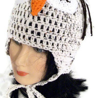 Owl hat with ear flaps - teen size