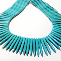 Blue Spikes Needles Sticks Magnesite Turquoise Ethnic Beads/ /Basketball Wives, Beads Only