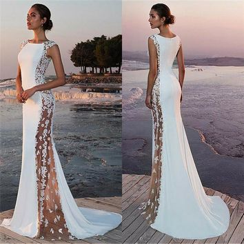 Fashion Casual Slim Solid Ball Women Dress Prom Elegant Formal Party Wedding Lace Bridesmaid Gown Summer Clothes