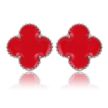 Beady Cleef Single Stud - Silver & Red