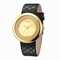 GUCCI Trending Women Men Simple Letter Print Leather Watch Business Watches Wrist Watch Gold I