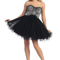 Short Babydoll Prom Dress with Beading in Black
