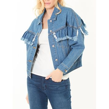 Boyfriend Ruffled Cropped Denim Jacket with Pockets (CLEARANCE)