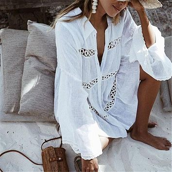 Lace Hollow Crochet Swimsuit Beach Dress 2018 Summer Bathing Suit Bikini Cover Up