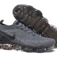 DCCK2 N326 Nike Air Vapormax Flyknit 2 Casual Running Shoes Grey Black