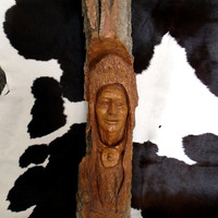 Indian Native American Wood Carving by Steve Thorstenson Vintage Wood Carving Hand Carved Art Wood Carving Art Western Wood Carving STW-01