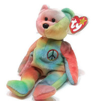 "Free US Shipping, Ty PEACE Bear Neon Colors Ty-Dye 8"" Beanie Baby 1996 MWMT Rock & Roll Bear"