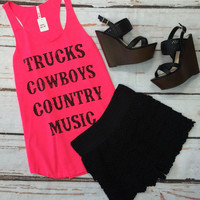 Trucks Coybows Country Music Tank