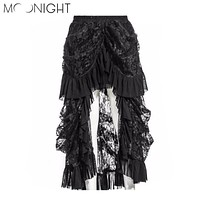 MOONIGHT Hot Sexy Women Lace Fluffy Midi Trumpet Skirt Ladies Vintage Steampunk Slim Long Mermaid Skirt S-5XL