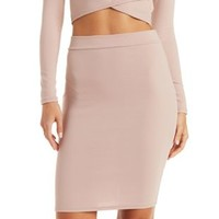 Tan Textured Pencil Skirt by Charlotte Russe