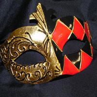Black, Red and Gold Unisex Mask