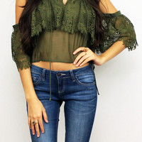 Private Party Lace Olive Off Shoulder Top