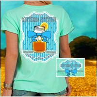 Country Life Outfitters Southern Attitude Sweet Tea Mason Jar Bow Vintage Girlie Bright T Shirt