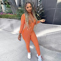 Kliou striped V-neck  long sleeve slim jumpsuit 2019 summer women fashion high waist streetwear club bodycon female body