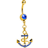 Blue Gem Gold Nautical Delight Anchor Dangle Belly Ring | Body Candy Body Jewelry