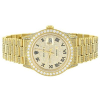 Custom Watch 7.0 Ct Diamond Roman Numeral Presidential Stainless Steel Men