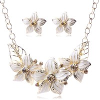 Austrian Crystal Enamel Flower Jewelry Sets