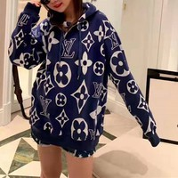"""Louis Vuitton"" Women Retro Fashion Back Classic Letter Logo Long Sleeve Knit Sweater Loose Tops Hoodie"