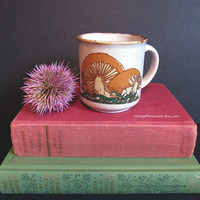 Vintage Ironstone Mushroom Mug, Coffee Cup, Ceramic Tea Cup, Kiln Craft Staffordshire England