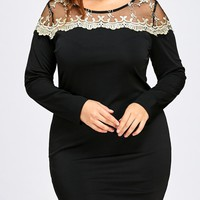 Plus Size Mesh Panel Mini Bodycon Dress