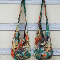 Victorian Floral Tie Dye Cotton Long Sling Reversible Bag - Green/Gold Sling Reversible Bag