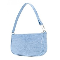 20 new bag bag RACHEL LEATHER SHOULDER BAG crocodile pattern underarm bag light blue