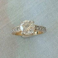 Rhinestone Engagement Ring Size 6 Gold Plated Brilliant Cut Vintage Jewelry