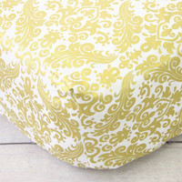 Peggy's Pink & Gold Damask Crib Sheets
