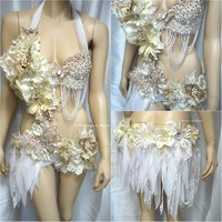 Gold and White Goddess Fairy Monokini Dance Costume Rave Bra Halloween