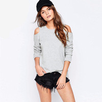 Autumn Women Casual Bare Shoulder Round Necked Solid Sweatshirt  Top a13247