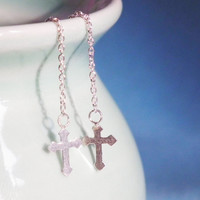 Cross Dangle Earring With Chain 925 Sterling Silver Earring - Gift under 10